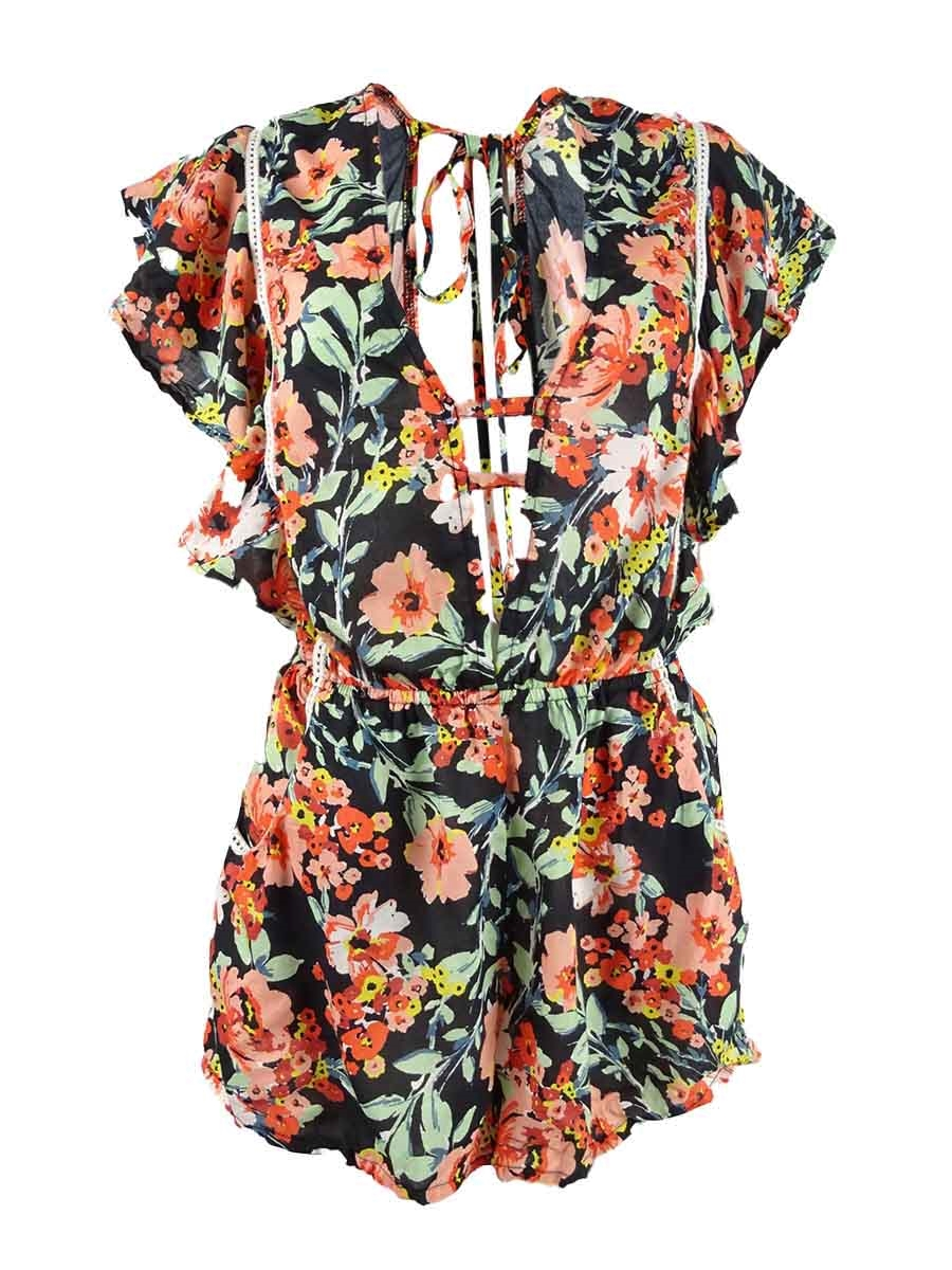 Lucky Brand Women/'s On The Grid Printed Romper Swim Cover-Up