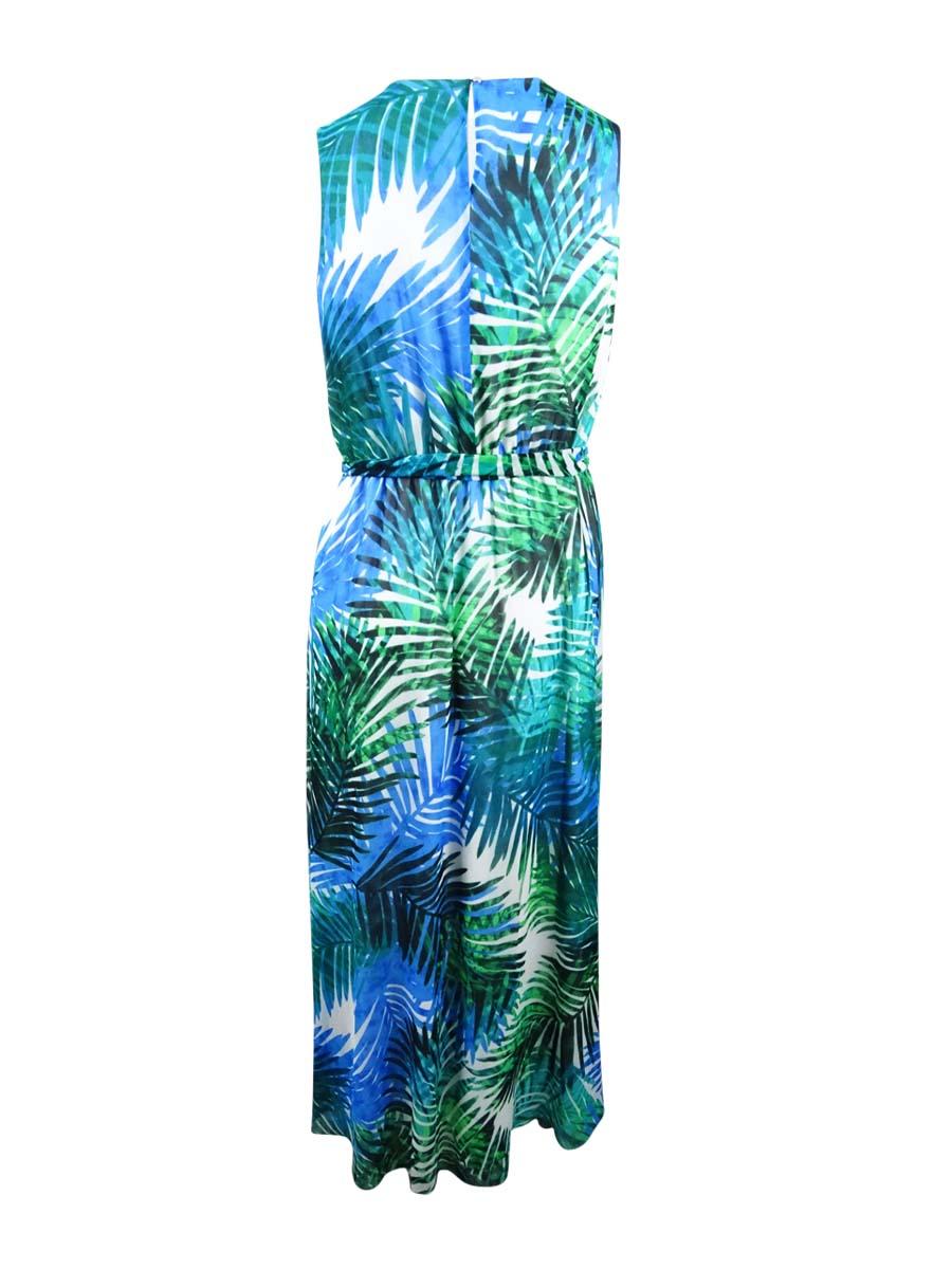 Calvin-Klein-Women-039-s-Plus-Size-Palm-Print-Maxi-Dress thumbnail 4