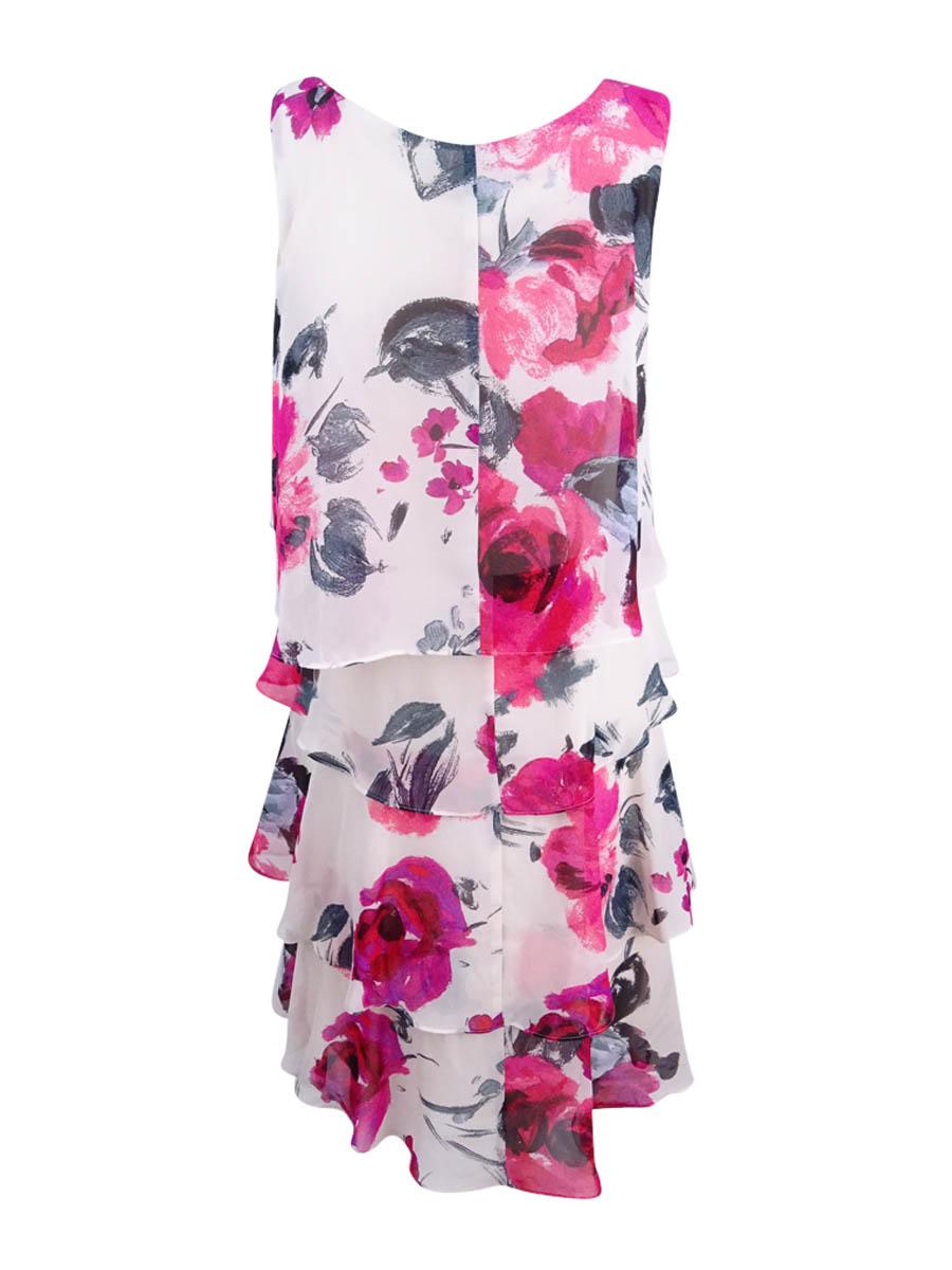 SL-Fashions-Women-039-s-Chiffon-Floral-Print-Tiered-Dress thumbnail 4