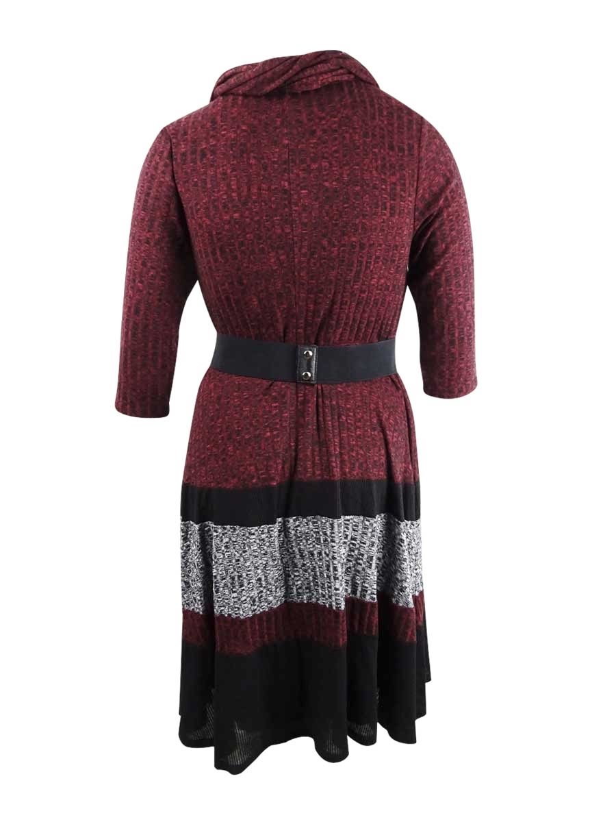 Robbie-Bee-Women-039-s-Plus-Size-Belted-Colorblocked-Sweater-Dress thumbnail 4