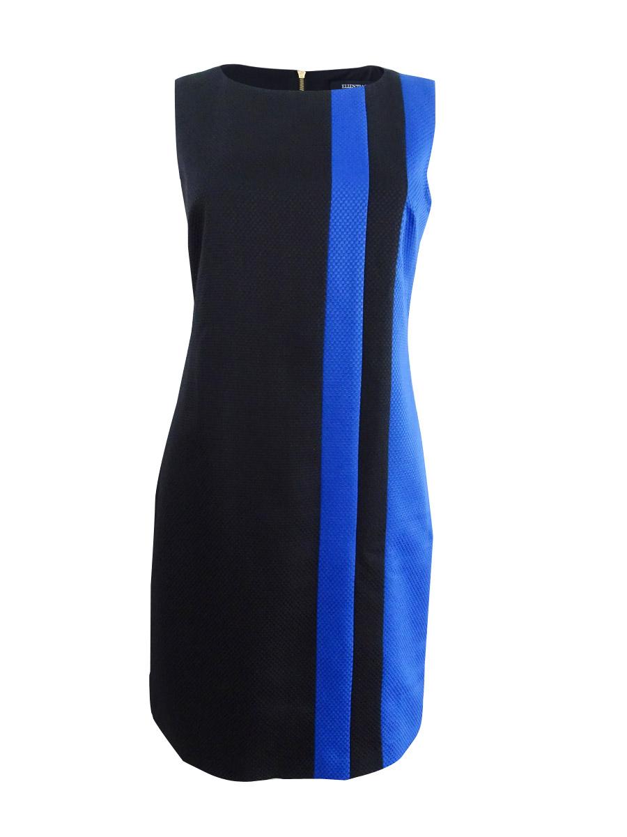 Ellen-Tracy-Women-039-s-Petite-Striped-Jacquard-Sheath-Dress