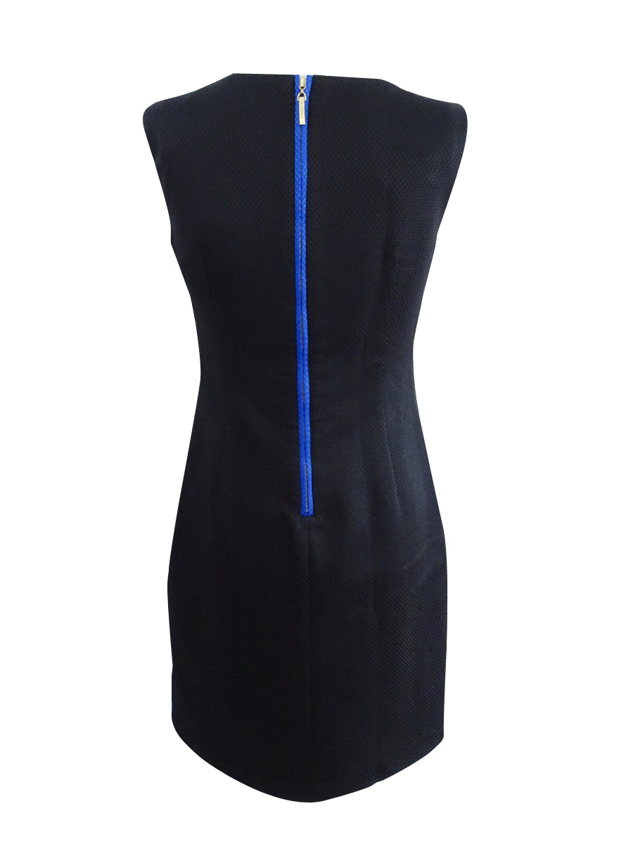 Ellen-Tracy-Women-039-s-Petite-Striped-Jacquard-Sheath-Dress thumbnail 2