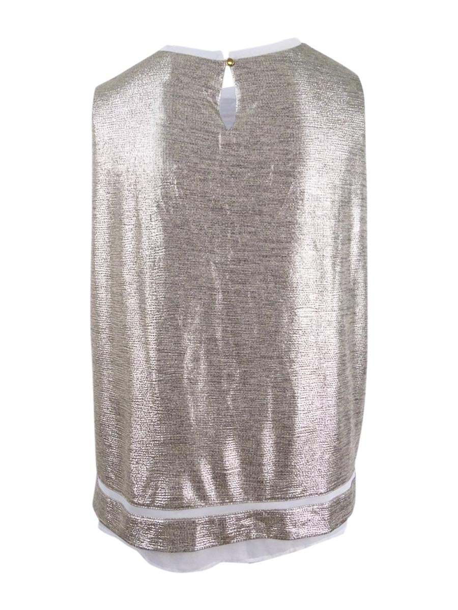 Calvin-Klein-Women-039-s-Plus-Size-Sleeveless-Metallic-Blouse thumbnail 4