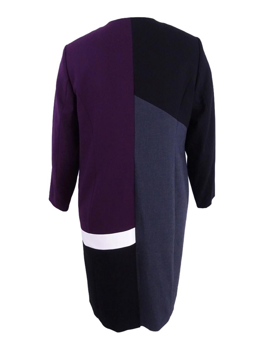 Calvin-Klein-Women-039-s-Plus-Colorblocked-Open-Front-Lux-Topper-Jacket thumbnail 4