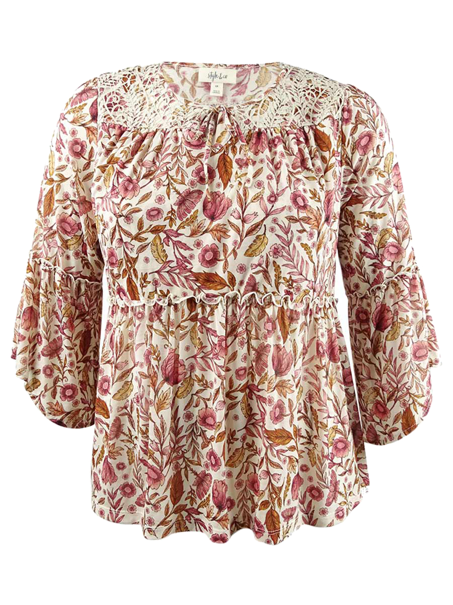 Style-amp-Co-Women-039-s-Plus-Size-Printed-Bell-Sleeve-Peasant-Top thumbnail 3