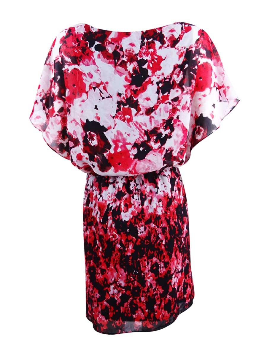 SL-Fashions-Women-039-s-Chiffon-Floral-Print-Blouson-Dress thumbnail 4